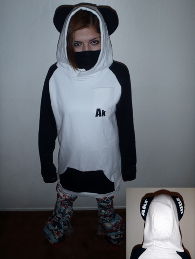 "Womens Tall ""Panda hoodie "" Black/White-XLT"